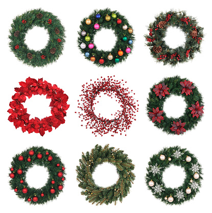 Poinsettia「A variety of decorated holiday wreaths」:スマホ壁紙(1)