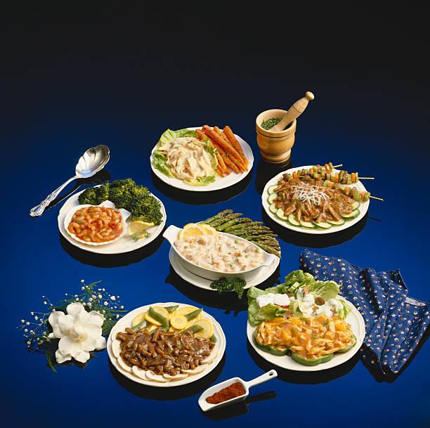 Variety of meals against blue background:スマホ壁紙(壁紙.com)