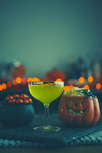 Martini「Halloween time. Vibrant colored drinks with cauldron of popcorn」:スマホ壁紙(1)