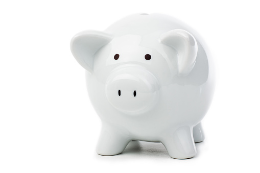 Employment And Labor「White piggy bank on white background」:スマホ壁紙(12)