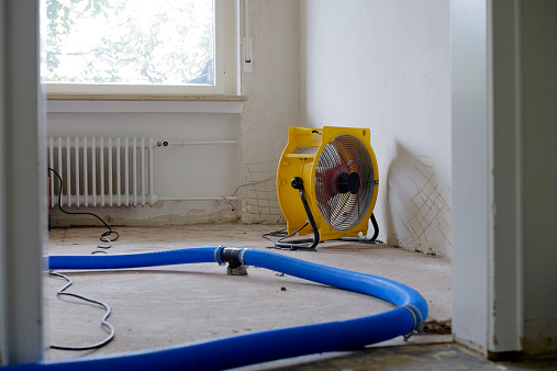 Focus On Background「Dehumidifier at work in an apartment which is damaged by flooding」:スマホ壁紙(15)