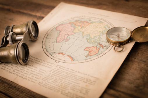 1870-1879「Antique 1870 Map of Eastern Hemisphere, Binoculars, and Compass」:スマホ壁紙(18)