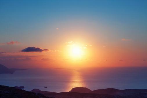 海「カラフルな夕日」:スマホ壁紙(0)