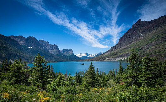 US Glacier National Park「Wild Goose Island in St. Mary Lake」:スマホ壁紙(7)