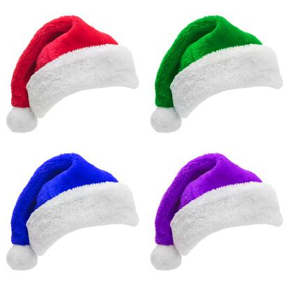 縁なし帽子「白い背景に分離された複数の色のサンタの帽子のセット」:スマホ壁紙(4)