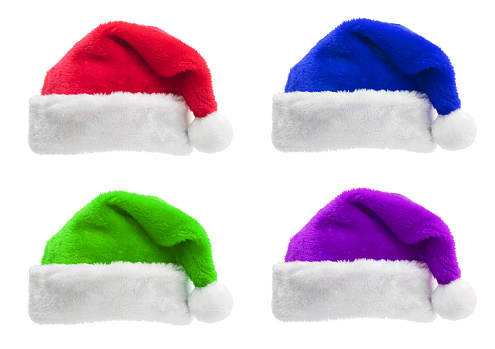 Santa Hat「Set of multi colored Santa hats isolated on a white background」:スマホ壁紙(0)