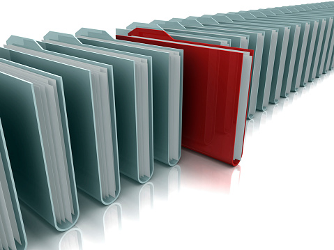 Continuity「Row of gray folders with red folder standing out」:スマホ壁紙(1)