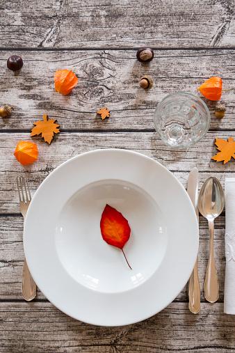Chinese Lantern「Soup dish on autumnal laid table」:スマホ壁紙(6)