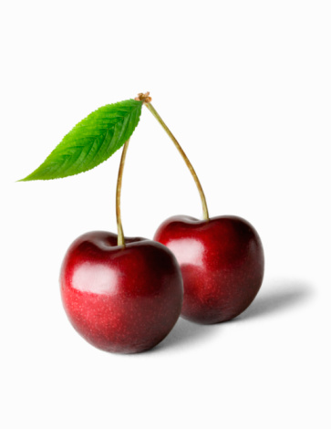 Cherry「Two cherries and stalk, against white background, close-up」:スマホ壁紙(2)