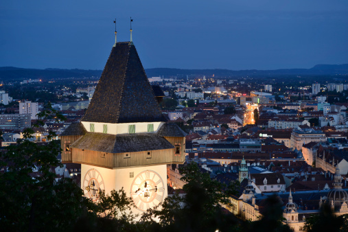 Graz「Clock tower, Schlossberg, Graz, Styria, Austria, Europe」:スマホ壁紙(17)