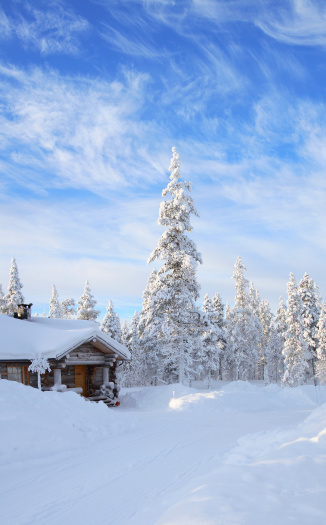 Finnish Lapland「A cabin in the forest covered in snow 」:スマホ壁紙(8)