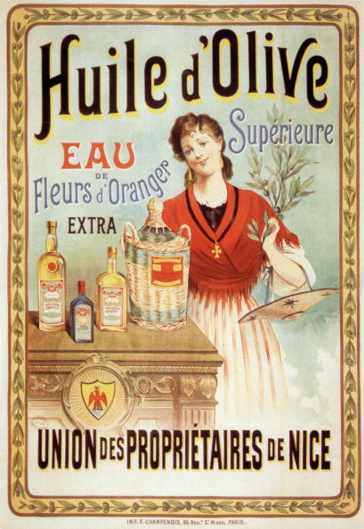 Olive Oil「Poster for olive oil and water of orange blossoms, Nice (French Riviera) postcard, c. 1910」:写真・画像(0)[壁紙.com]