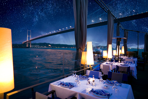 Hotel Reception「Luxurious restaurant or nightclub in Bosporus Istanbul Turkey」:スマホ壁紙(2)