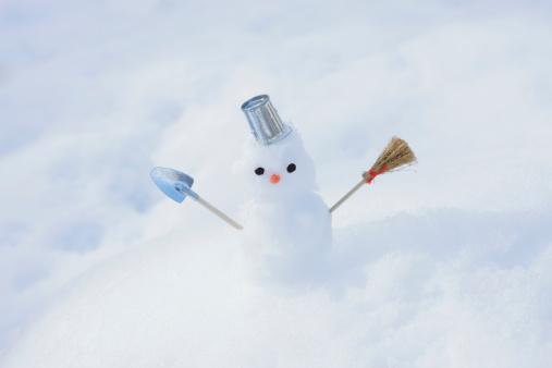 雪だるま「Tiny snowman in the snow」:スマホ壁紙(17)