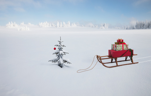 Snow sled「A SLED WITH CHRISTMAS GIFTS AND CHRISTMAS TREE」:スマホ壁紙(3)