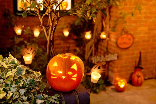Halloween party「HALLOWEEN, LIT PUMPKIN OUTSIDE RESIDENTIAL HOUSE」:スマホ壁紙(9)