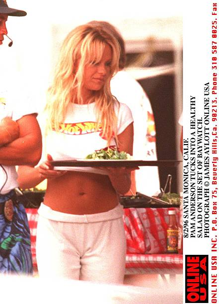 8/2/96 SANTA MONICA, CALIF PAMELA ANDERSON EATS A HEALTHY SALAD JUST ONE MONTH AFTER GIVING BIRTH TO:ニュース(壁紙.com)