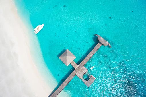 Water's Edge「top view aerial sandy beach lagoon footbridge」:スマホ壁紙(4)