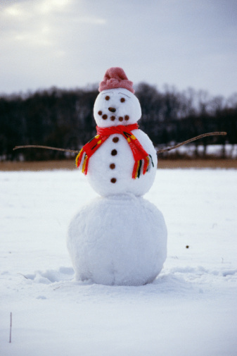 雪だるま「Snowman with hat and scarf」:スマホ壁紙(19)
