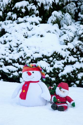 雪だるま「Snowman With Santa Claus Doll; Whitburn, Tyne And Wear, England」:スマホ壁紙(6)