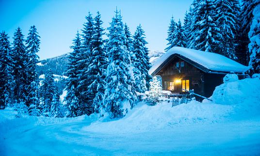 Atmosphere「Austria, Altenmarkt-Zauchensee, sledges, snowman and Christmas tree at illuminated wooden house in snow at dusk」:スマホ壁紙(1)