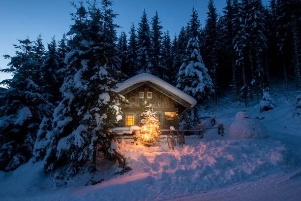 Austria, Altenmarkt-Zauchensee, sledges, snowman and Christmas tree at illuminated wooden house in snow at night:スマホ壁紙(壁紙.com)