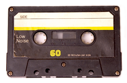 1980-1989「Retro cassette tape with yellow label」:スマホ壁紙(7)