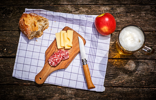 Penknife「Snack with bread, cheese, salami, apple and glass of beer」:スマホ壁紙(17)