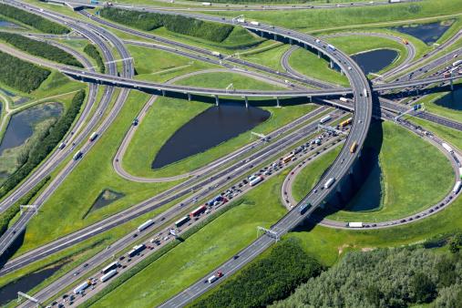 Netherlands「Aerial shot of highway interchange」:スマホ壁紙(0)