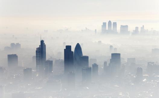 Fog「Aerial shot of City of London」:スマホ壁紙(19)
