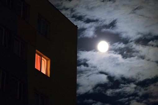 Moon「Second Story House Window Lit Against Night Sky」:スマホ壁紙(6)