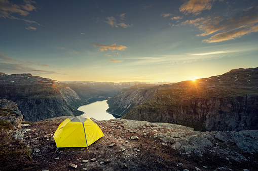 Tent「Tent on plateau overlooking fjord at sunset, Norway」:スマホ壁紙(16)