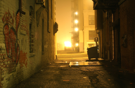 Ghetto「Dark Grunge Alley with Lights Shining at Night」:スマホ壁紙(2)