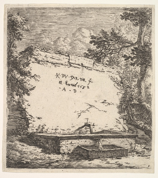 Pouring「Frontispiece With Stepped Fountain; A Stone Wall With Water Spout Pouring Water Into A Rec」:写真・画像(12)[壁紙.com]