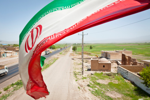 Iranian Culture「Iranian flag on pedestrian overpass on Highway 16 between Sarab and Nir.」:スマホ壁紙(14)