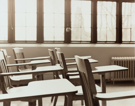 Sepia Toned「Desks in college classroom, side view (toned B&W)」:スマホ壁紙(9)