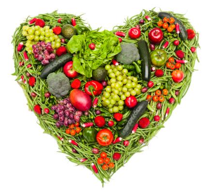 ハート「I love 野菜や果物」:スマホ壁紙(1)
