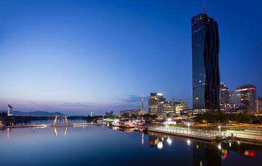 Austria「Austria, Vienna, Donau City, Danube River and DC Tower 1 in the evening」:スマホ壁紙(3)