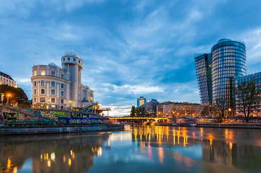 Austria「Austria, Vienna, Danube Canal, Urania, observatory and cinema, Uniqa Tower」:スマホ壁紙(9)