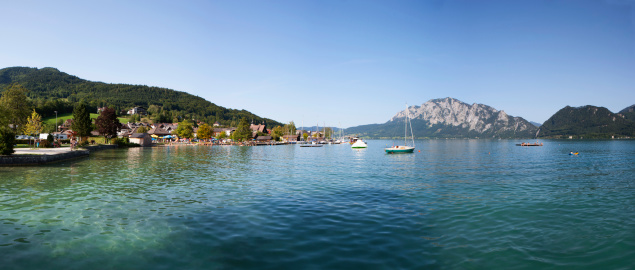 Salzkammergut「Austria, View of Unterach, Lake Attersee and Hoellengebirge」:スマホ壁紙(18)