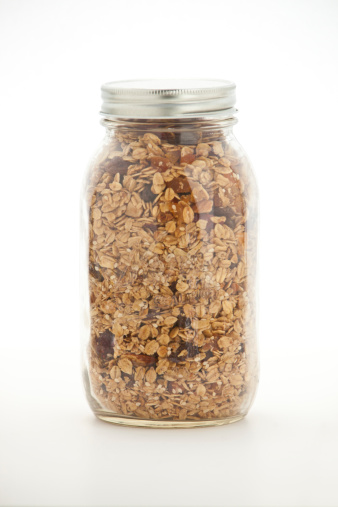 Oats - Food「Jar of homemade granola on white」:スマホ壁紙(19)
