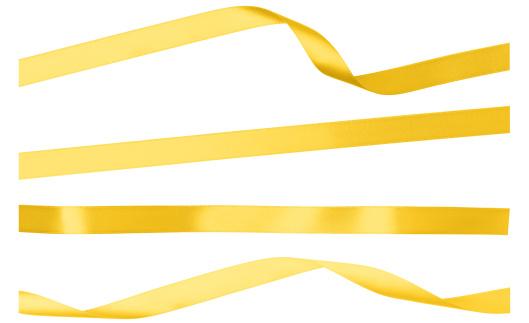 Ribbon - Sewing Item「Yellow Satin Isolated Ribbon Strips On White」:スマホ壁紙(18)