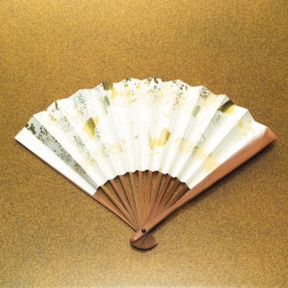 Folding Fan「Japanese folding fan, front view, gold background」:スマホ壁紙(5)