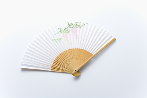 Folding Fan「Japanese folding fan, high angle view, white background」:スマホ壁紙(13)
