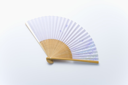 Folding Fan「Japanese folding fan, high angle view, white background」:スマホ壁紙(7)