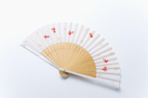 Folding Fan「Japanese folding fan, high angle view, white background」:スマホ壁紙(14)