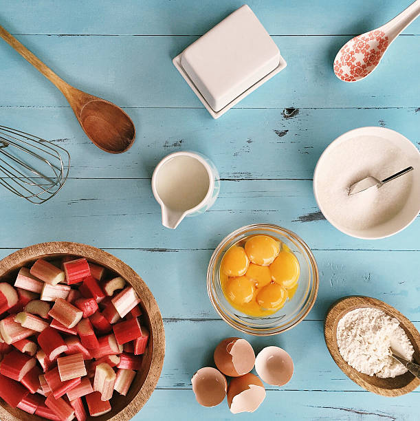 Ingredients for baking a rhubarb cake:スマホ壁紙(壁紙.com)