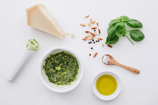 Parmesan Cheese「Ingredients for pesto on white ground」:スマホ壁紙(1)