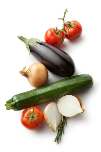 Vegetarian Food「Ingredients: Vegetables for Ratatouille Isolated on White Background」:スマホ壁紙(1)