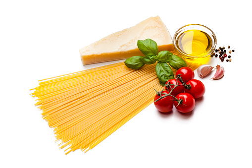 Garlic Clove「Ingredients for cooking Italian spaghetti isolated on white」:スマホ壁紙(5)
